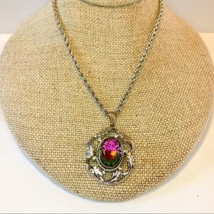 Vtg Whiting Davis Watermelon Rhinestone Necklace